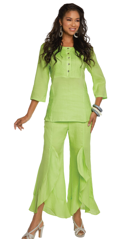 Lisa Rene 3330-LI ( 2pc Linen Tunic And Pant Set With Pin Tucking And Cascade Flounces )