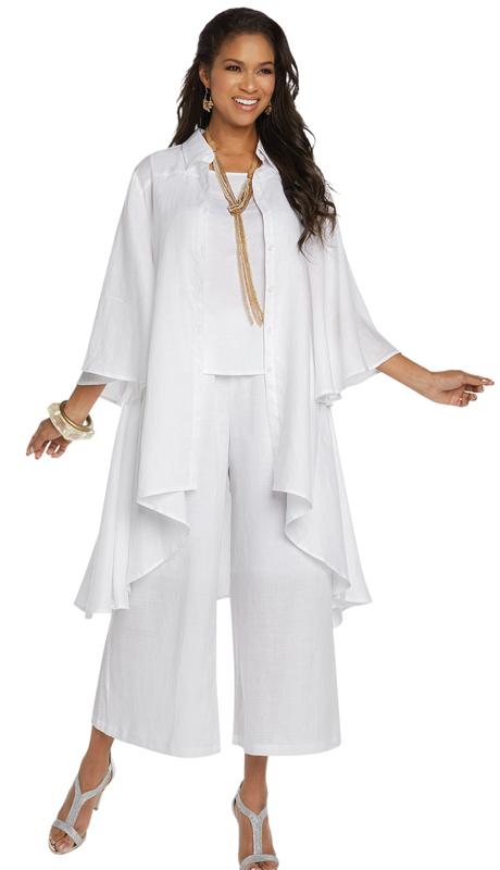 Lisa Rene 3338-WH ( 3pc Linen Jacket, Cami And Pant Set With Hi-Low Design )