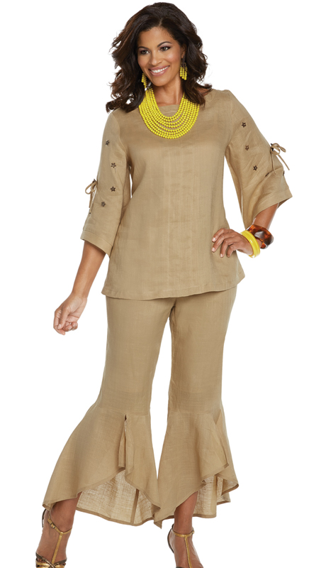 Lisa Rene 3329-KH ( 2pc Linen Tunic And Pant Set With Moon And Stars Wood Like Trims )