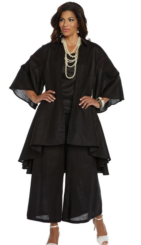 Lisa Rene 3338-BK ( 3pc Linen Jacket, Cami And Pant Set With Hi-Low Design )