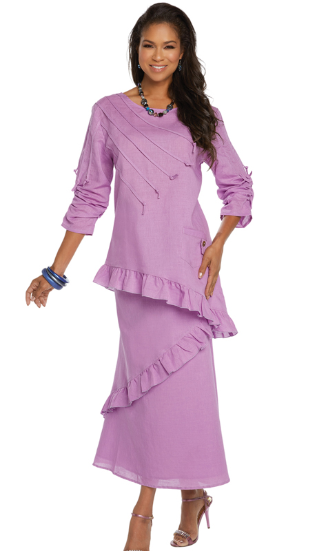 Lisa Rene 3337-LA ( 2pc Linen Tunic And Skirt Set With Ruffle Hem And Strapping Trim )