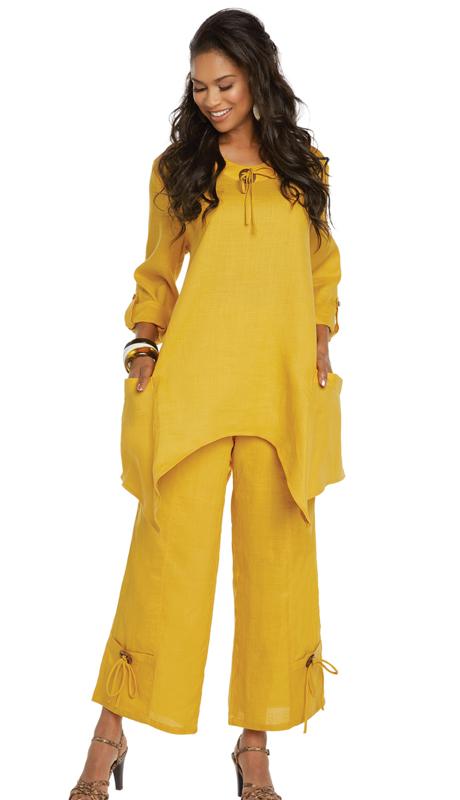 Lisa Rene 3336-MU ( 2pc Linen Tunic And Pant Set With Wood Like Trim )
