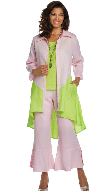Lisa Rene 3335-PL ( 3pc Jacket, Cami And Pant Set With Two Tone Hi-Low Design )