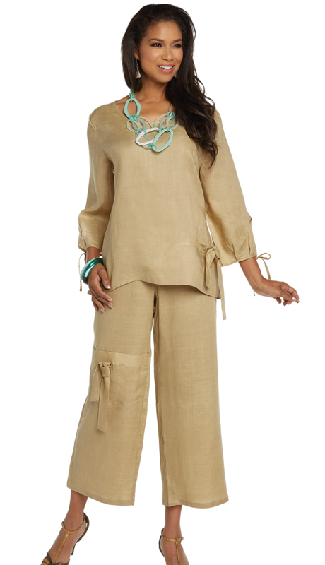 Lisa Rene 3334-KH ( 2pc Linen Tunic And Pant Set )