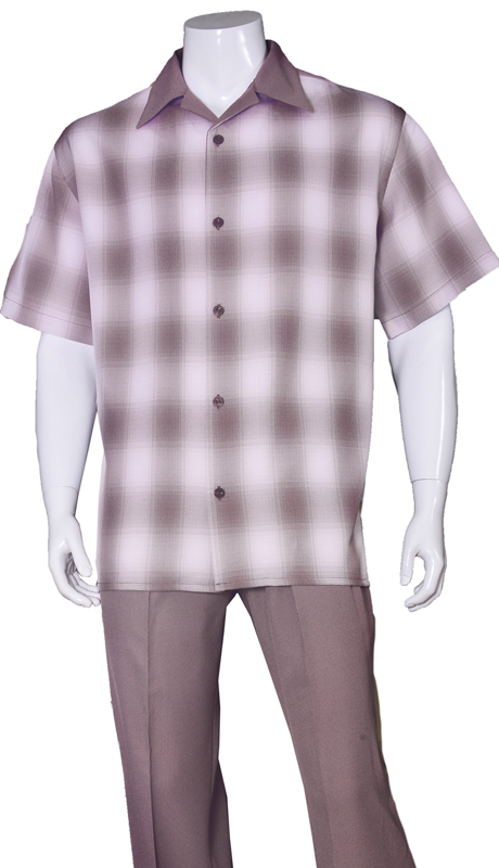 Mens Walking Suit-2970-BUR ( 2pc Solid Pant And Windowpane Shirt )