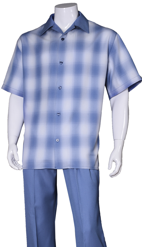 Mens Walking Suit-2970-BLU ( 2pc Solid Pant And Windowpane Shirt )