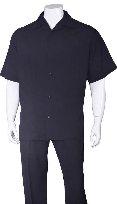 Mens Walking Suit-2971-BLK ( 2pc Solid Pant And Solid Shirt )