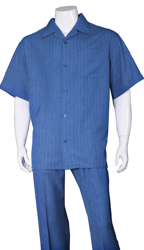 Mens Walking Suit-2971-BLU ( 2pc Solid Pant And Solid Shirt )