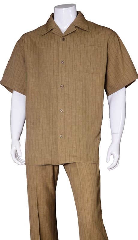 Mens Walking Suit-2971-BR ( 2pc Solid Pant And Solid Shirt )