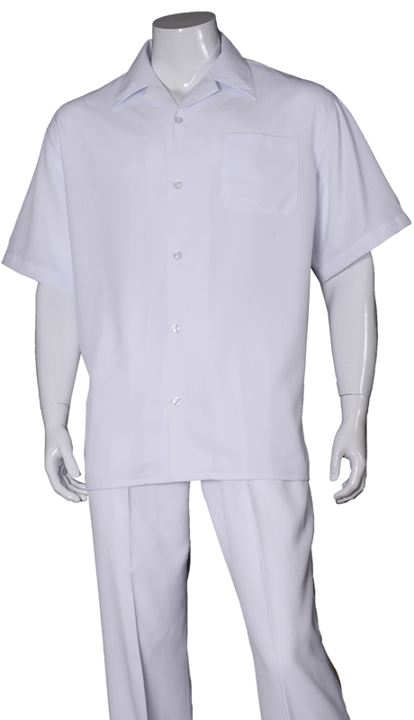 Mens Walking Suit-2971-WH ( 2pc Solid Pant And Solid Shirt )