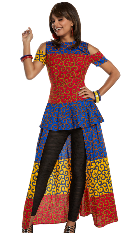 Donna Vinci 17207 ( 1pc Cotton Wax Tunic Dress With African Inspired Printed Fabric From Love The Queen By Donna Vinci )