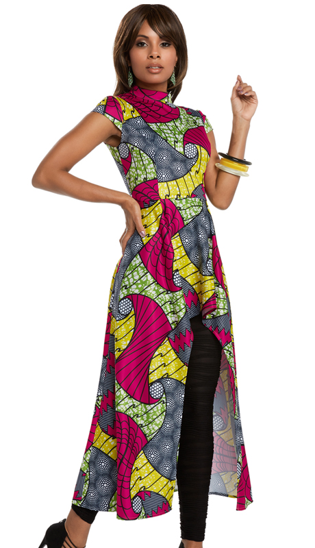Donna Vinci 17206 ( 1pc Novelty Tunic Dress With African Inspired Printed Fabric With Spandex From Love The Queen By Donna Vinci )