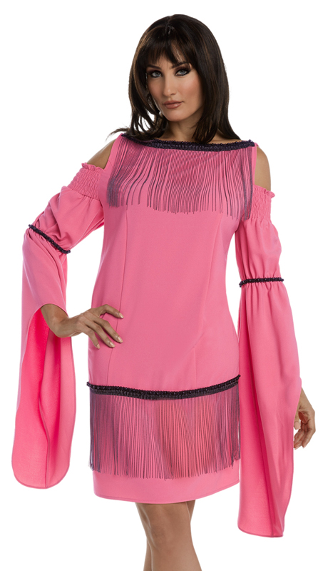 Donna Vinci 17209-CO ( 1pc Poly Spandex Tunic With Novelty Organza Trim From Love The Queen By Donna Vinci )