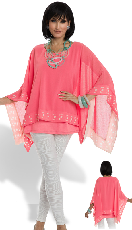 Donna Vinci 17186 ( 1pc Novelty Tunic With Laser Cutouts And White Inset From Love The Queen By Donna Vinci )