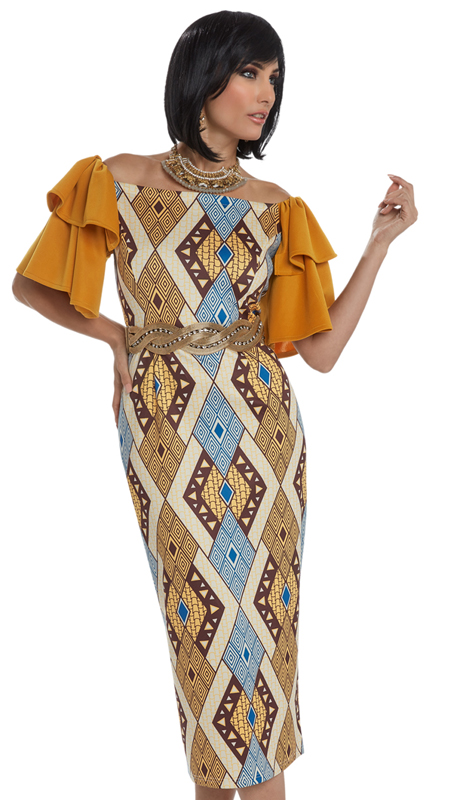Donna Vinci 17203 ( 1pc Novelty Dress With African Inspired Printed Fabric With Spandex From Love The Queen By Donna Vinci )