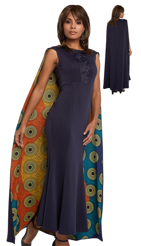Donna Vinci 17202 ( 1pc Novelty Dress With African Inspired Printed And Solid Fabric With Spandex From Love The Queen By Donna Vinci )