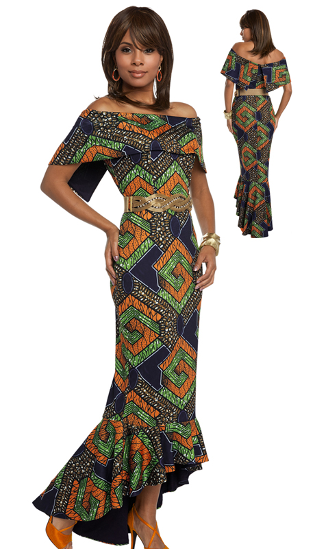 Donna Vinci 17204 ( 1pc Novelty Dress With African Inspired Printed Fabric With Spandex From Love The Queen By Donna Vinci )