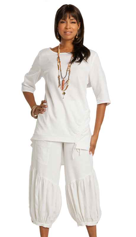 Lisa Rene 3364-WH ( 2pc Linen Drawstring Pant Set )