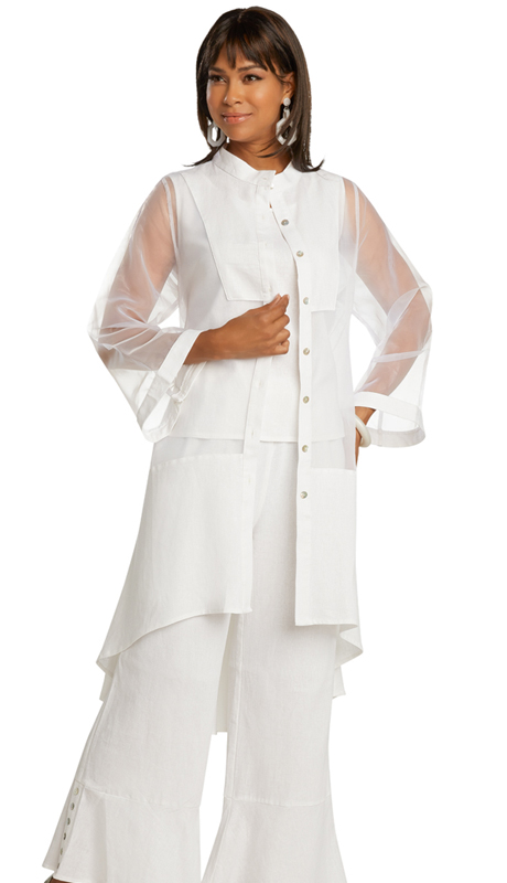 Lisa Rene 3363-WH ( 3pc Linen High-Low Pant Set With Organza Trim )