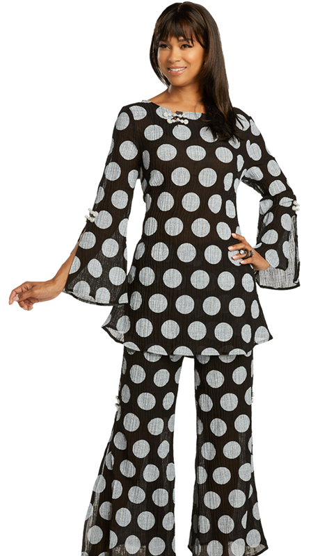 Lisa Rene 3360-BW ( 2pc Linen Polka Dot Textured Pant Set )