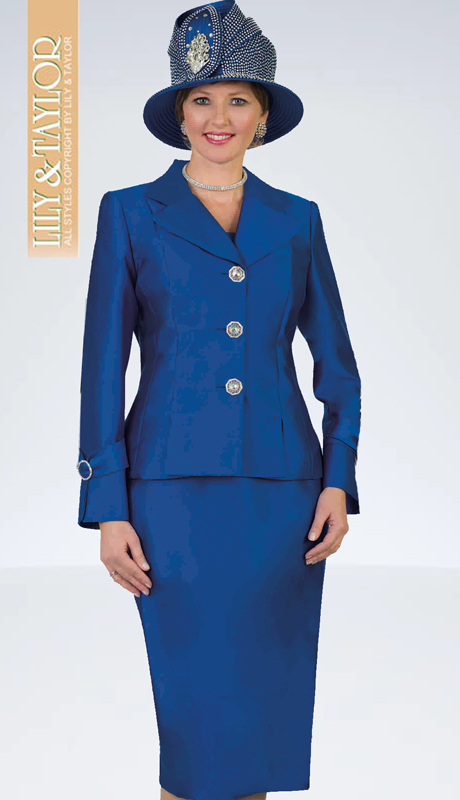 Lily And Taylor 4096-RO ( 2pc Silk Womans Church Suit With Jacket And Jeweled Buttons )