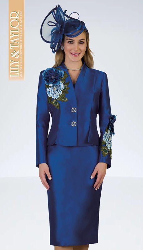 Lily And Taylor 4122-R ( 2pc Silk Ladies Church Suit With Embroidery Trim Accents )