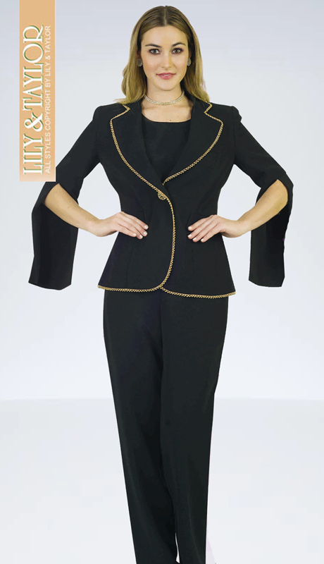 Lily And Taylor 4372-BLK-IH ( 3pc PeachSkin Womans Pant Suit With Jacket And Gold Trim )
