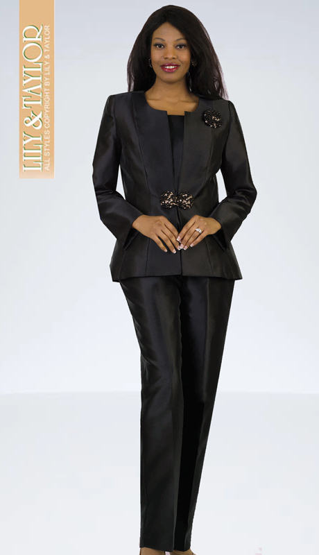 Lily And Taylor 4387-BLK( 3pc Silk Pant Suit With Pearl Clasp And Brooch )