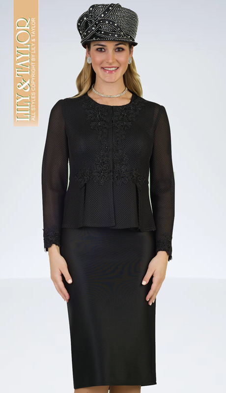 Lily And Taylor 4950-BLK ( 3pc Mesh With Scuba Knit Ladies Sunday Suit With Lace Accented Jacket )