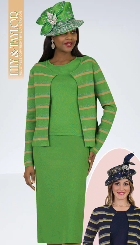 Lily And Taylor 648-GM ( 3pc Knit Ladies Church Suit With Striped Jacket )