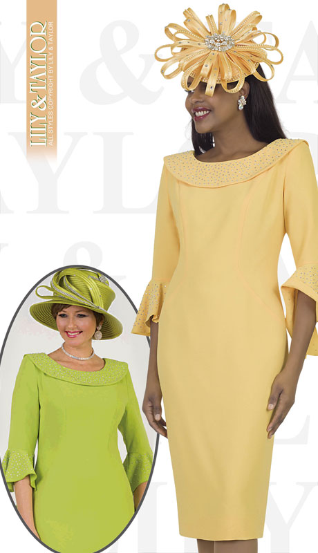Lily And Taylor 4524-YE ( 1pc Crepe Womans Church Dress With Tulip Sleeves And Jeweled Trim )