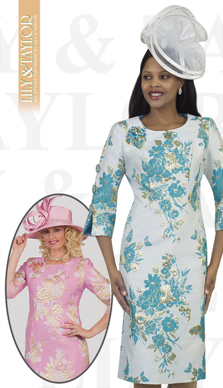 Lily And Taylor 4469-TU ( 1pc Novelty Womens Church Dress With Embroidery Pattern And Flared Sleeves )