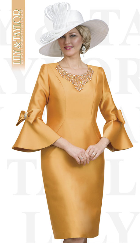 Lily And Taylor 4540-HO ( 1pc Silk Ladies Church Dress With Bow Bell Sleeves And Rhinestone Collar )