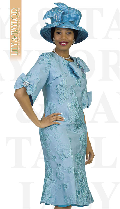Lily And Taylor 4525-TU ( 1pc Novelty Brocade Patterened Womens Church Dress With Bow Sleeves )