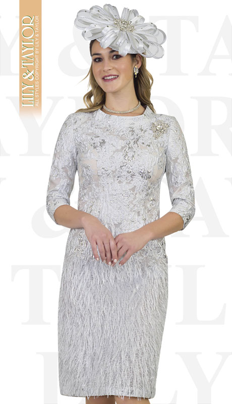 Lily And Taylor 4482-WH ( 1pc Ladies Novelty Church Dress With Lace And Feathery Trim )