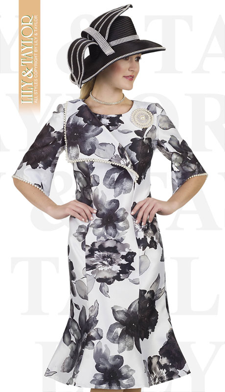 Lily And Taylor 4521-BL ( 1pc Silk Novelty Ladies Church Dress With Pearl Trim And Brooch )