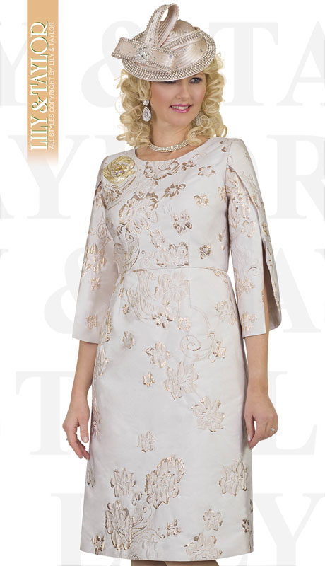 Lily And Taylor 4474-GO-IH ( 1pc Novelty Womens Church Dress With Embroidery Pattern And Flared Sleeves )