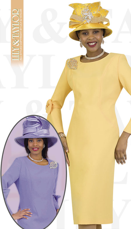 Lily And Taylor 4154-YE-IH ( 1pc Crepe Womans Church Dress With Flared Sleeves, Bow Trim And Jeweled Brooch )