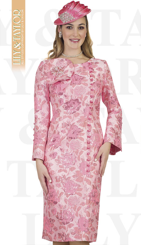 Lily And Taylor 4486-RO ( 1pc Novelty Brocade Patterened Womens Church Dress With Bow And Brooch )