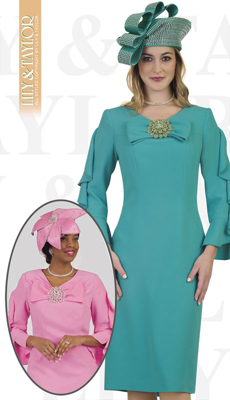 Lily And Taylor 4461-TE ( 1pc Crepe Womans Church Dress With Flared Sleeves, Bow And Jeweled Brooch )