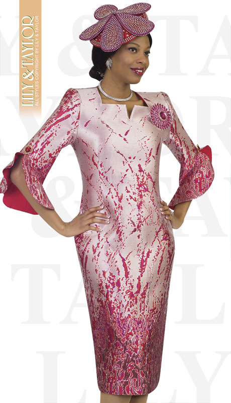Lily And Taylor 4497-RE ( 1pc Silk Ladies Church Dress With Bell Sleeves And Brooch )