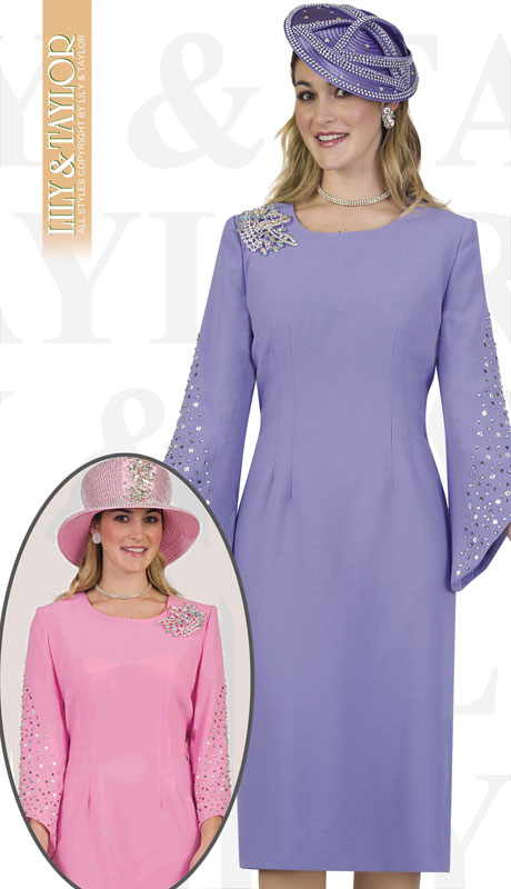 Lily And Taylor 4385-LA ( 1pc Ladies Crepe Church Dress With Rhinestone Sleeves And Jeweled Brooch )
