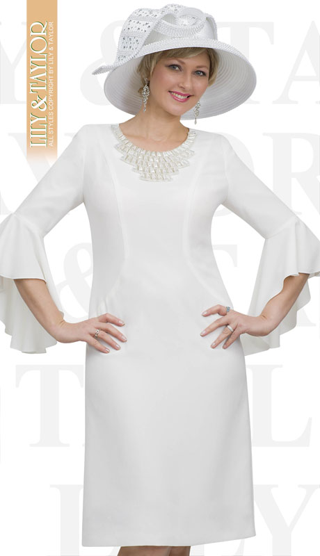 Lily And Taylor 4468-WH ( 1pc Crepe Womans Church Dress With Flared Sleeves And Rhinestone Neckline )