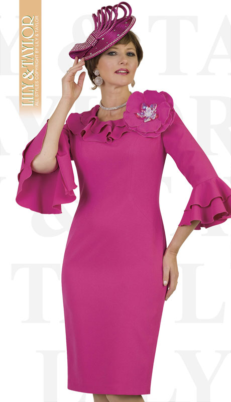 Lily And Taylor 4496-FU ( 1pc Ladies Crepe Church Dress With Ruffled Flared Sleeves And Jeweled Brooch )