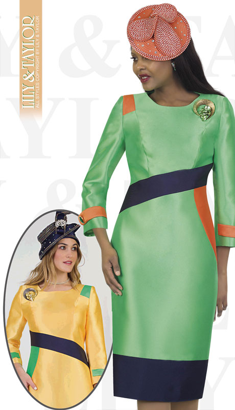Lily And Taylor 4489-PG ( 1pc Novelty Block Dress With Stripes And Jeweled Brooch )