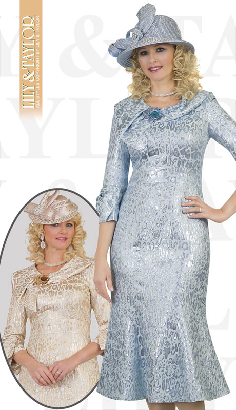Lily And Taylor 4516-IB ( 1pc Ladies Novelty Church Dress With Animal Print And Jeweled Brooch )