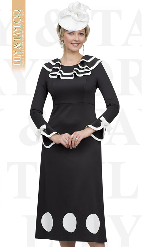Lily And Taylor 4510-BL ( 1pc Ponte Knit First Lady Dress With Striped Ruffle Trim )