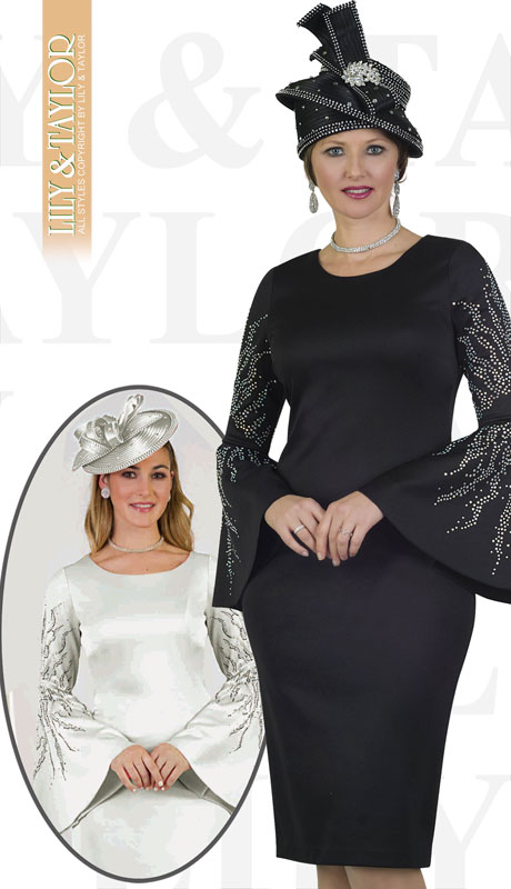 Lily And Taylor 4501-BL ( 2pc Ponte Knit Womans Church Suit With Flared Sleeves And Rhinestones )