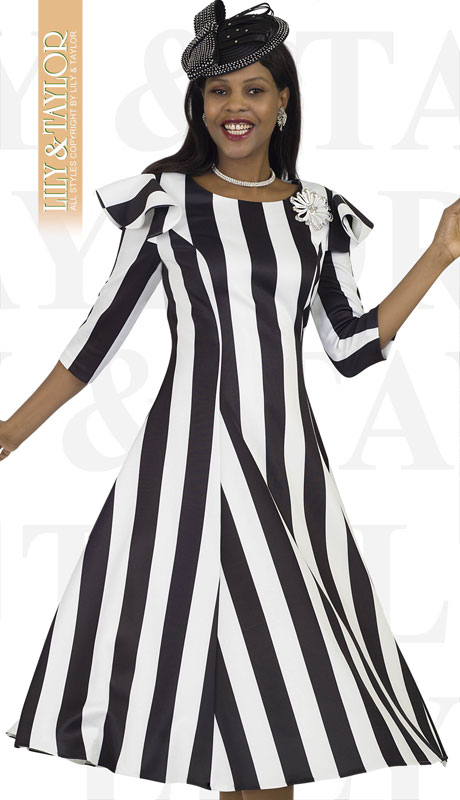 Lily And Taylor 4512-BL ( 1pc Ponte Knit Striped Womans Church Dress With Ruffle Trim And Jeweled Brooch )
