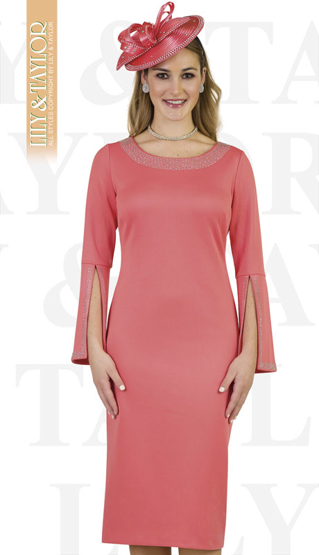Lily And Taylor 4153-IH ( 1pc Knit First Lady Dress With With Split Bell Cuff And Rhinestone Details )